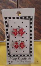 "Vtg 1990 Mary Engelbreit Daisy Kingdom 2 wood buttons red small bird bows 1"""