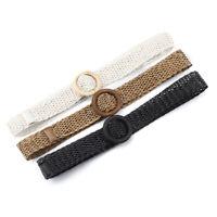Ladies Wide Braided Woven Straw Waist Belt Round Wooden Buckle Belts Women DresT
