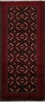 Tribal Hand-knotted Balouch Afghan Oriental Area Rug Geometric Wool Carpet 2'x4'