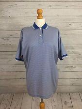 Cutter & Buck Women's Casual Blue Stripe Short Sleeve Golf Polo Top Shirt Size L