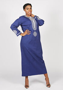 African Dashiki Embroidered Polished Cotton Kaftan Dress Size - UK10,12,14,16,18