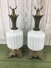 Vintage Pair White Iridescent Desk Table Lamp MC M C CO. Brass Metal Pineapple