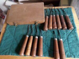 Vintage GunLine checkering tools w/ wooden box- 11 pc.