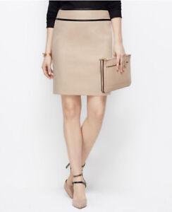 NEW Ann Taylor Womens Faux Black Leather Trim Pencil Zip Skirt Beige 14 L $89