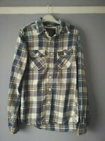 SUPERDRY CO JPN MENS BLUE WHITE CHECK SHIRT SIZE SMALL LONG SLEEVE POCKETS