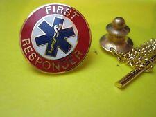 FIRST RESPONDER AWARD LAPEL PIN METAL CAP HAT PIN COLOR ENAMEL LOOK! GREAT GIFT*