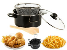 BLACK NON STICK CHIP PAN SET FRYER DEEP FAT FRYING BASKET POT W GLASS LID 24cm