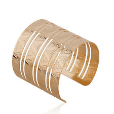 Bangle Cuff Bracelet Wristband Jewelry Women Gold Carving Triangle Alloy Open