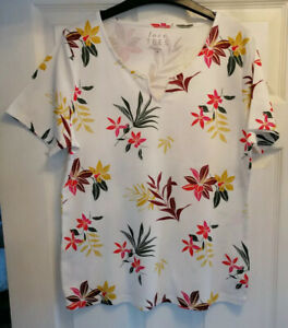 Size 14 Love Tees White  with Floral Pattern 100% Cotton short Sleeved top