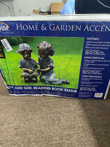 Alpine Corporation Girl and Boy Reading Statue Set - 2 Statues