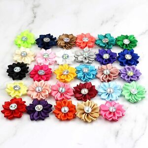 """5/100X 1.5"""" Satin Ribbon Flowers w/Rhinestone Appliques Sewing DIY Craft Wedding"""