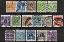 Denmark J9/J24 Used (J21 is Mint H) 1921-1930 Cv $160