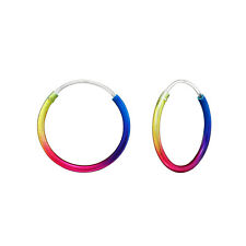 Rainbow Metallic Sterling Silver Sleeper Hoop Earrings 16mm - UK SELLER