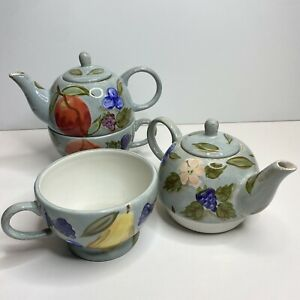 Tea For One Teapot & Cup Fruit Flower Leaf Santa Rosa Blue Mesa International 2