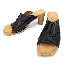 Gabor Black Leather Studded Mule Sandals Heels Open Toe Size US 8 UK 6 EU 39