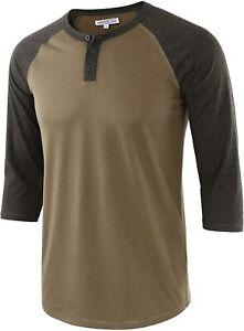 HARBETH Men's Casual Fashion 3/4 Raglan Sleeve Active Baseball Henley Tee Shirt