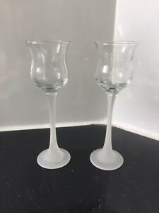"Party Lite 2 Frosted & Clear Glass Candle Stick Holders 7"" Tall"
