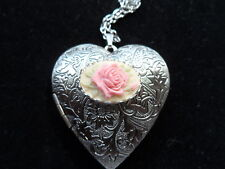 ANTIQUE SILVER ROSE CAMEO HEART LOCKET PINK ON CREAM