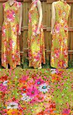 Vintage 1970s Flower Power Mod Maxi Dress Festival Hippie Sun Sleeveless Neon