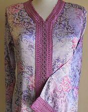 moroccan caftan kaftan in kemkha silky fabric pastel colors and scroll design