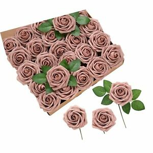 Ling's moment 50pcs Dusty Rose Artificial Roses Flowers with Stem for DIY Wed...
