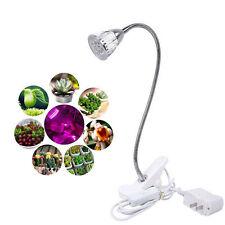 LED Grow Light 5W Hydroponic Indoor Garden Plant Desk Flexible Clip On Lamp-UK