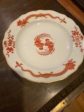 """Set of 6 Red Opulent Dragon C.1923 Porcelain 9 5/8"""" Dinner Plate, Meiyssen"""