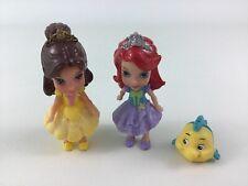 "Ariel Belle Flounder 3pc Lot Disney Princess Toy 4"" Doll Figure Mattel 2013"