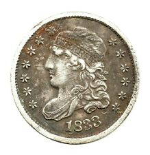 More details for km# 47 - early half dime - lm-10 (3+p) - liberty capped bust - usa 1833 (nvf)