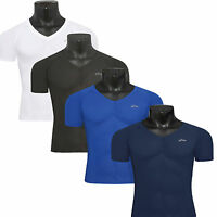 EMFRAA mens skin compression tights V-neck Top sports baselayer shirts S~2XL
