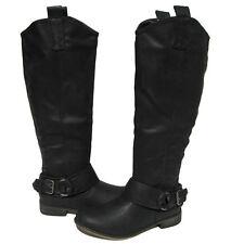 New Women's Riding Boots Black Knee High Biker Shoes Winter Snow Ladies size 6