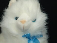 Lifelike Platinum Plush Blue Bowtie Eyes White Himalayan Persian Kitty Cat Plush