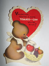 Vtg 1950s Teddy Bear Cute Tomato Can You Be Mine Children's Valentine's Day Card