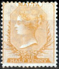 Malta 1872 1/2d Orange Buff SG8 Fine Unused