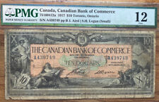 Canada 1917 $10 The Canadian Bank of Commerce Currency Toronto Pmg 12 Fine