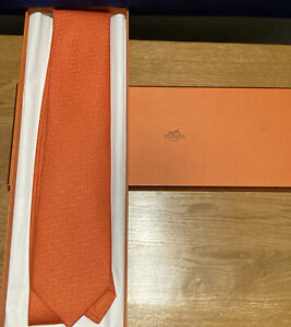 Hermes Orange Tie 100% Silk New In The Box