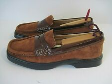 7f7215e21c1 BOTTICELLI Brown Suede Patent Leather Trim Penny Loafers Size 38 1 2 Italy