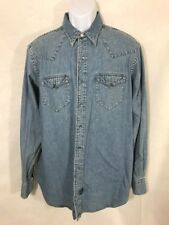 NWT Ralph Lauren Double RL RRL Blue Snap Button Denim Western Jean Shirt Size M