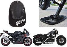KiWAV Black Motorcycle Kickstand Pad Support Yamaha Suzuki Harley New Free Ship