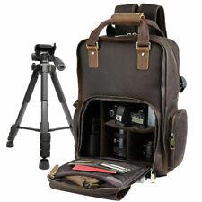"""Men Leather Travel Camera Bag Backpack Hiking Camping 16"""" Laptop Bag Daypack"""