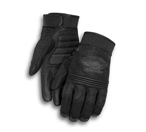 Harley Davidson Men's Winged Skull Gloves Goatskin Leather Free Shipping