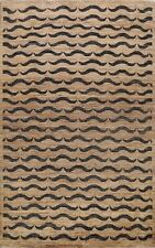 All-Over Brown Gabbeh Oriental Area Rug Wool Hand-knotted Modern Carpet 5x8 ft