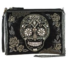 Mary Frances Crystal Skull Black Embellished Crossbody Clutch Bag Handbag NEW