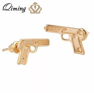 Women's Fashion Jewelry Gold Color Handgun Gun Shape Stud Earrings 84-3