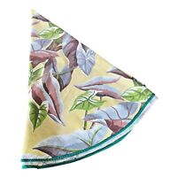 Barkcloth Tablecloth Vintage Mid-Century Round Tropical Plants  64 x 66 Fabric