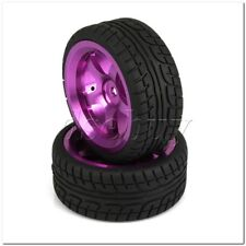 4 x RC1:10 On-Road Car Plastic Drift Tire & Purple Alloy 5-Spokes Wheel Rim