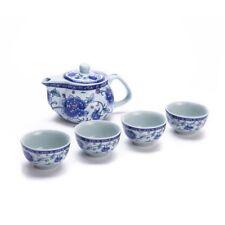 Exquisite 5 PCS Blue-And-White Peony Design Ceramic Tea Pot Tea Cups Set In...