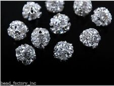 10pcs Silver With Rhinestone Jewelry Round Crystal Charm Spacer Beads 8mm