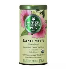 The Republic Of Tea Organic Immunity Supergreen 36 Bags Elderflower Matcha 2022