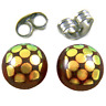 "DICHROIC GLASS Post EARRINGS Tiny 1/4"" 10mm Yellow on Clear Brown Fused STUDS"